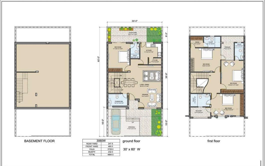 30 x 60 house plan map for Apartment design map