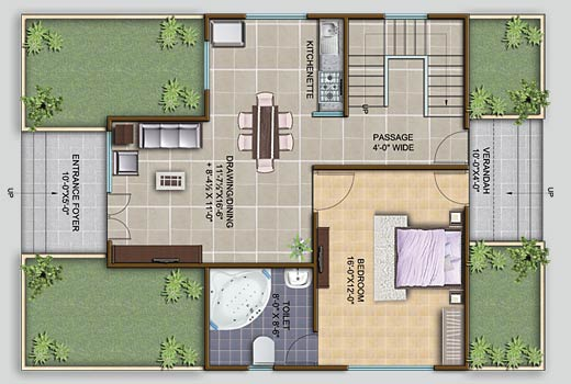 1 Bhk Farmhouse Plan