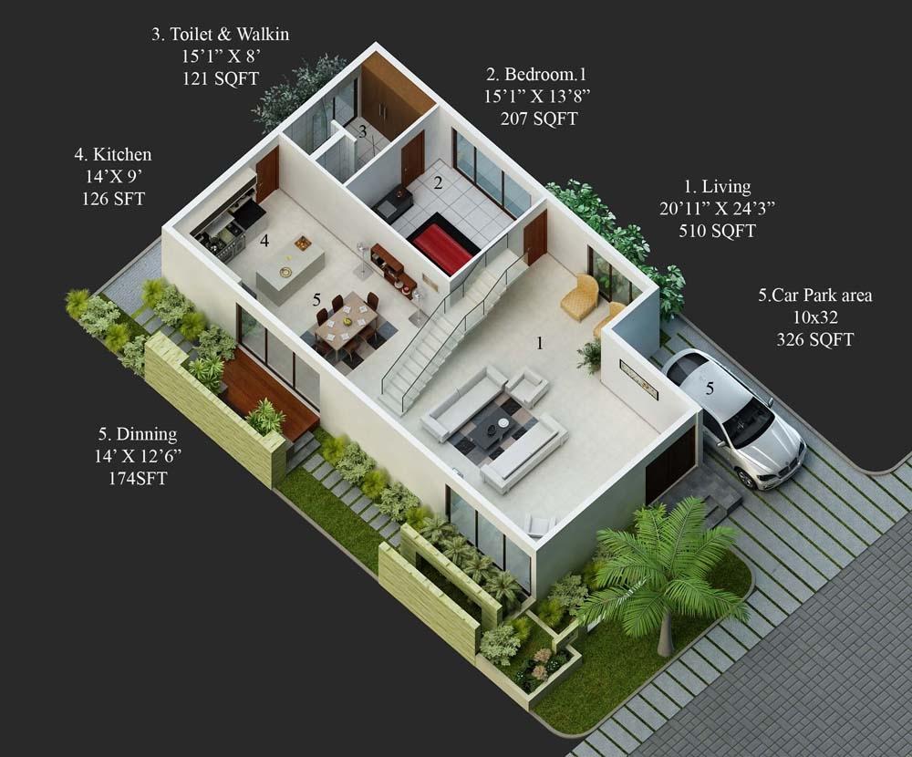 40 X 60 West Facing Duplex House Plans