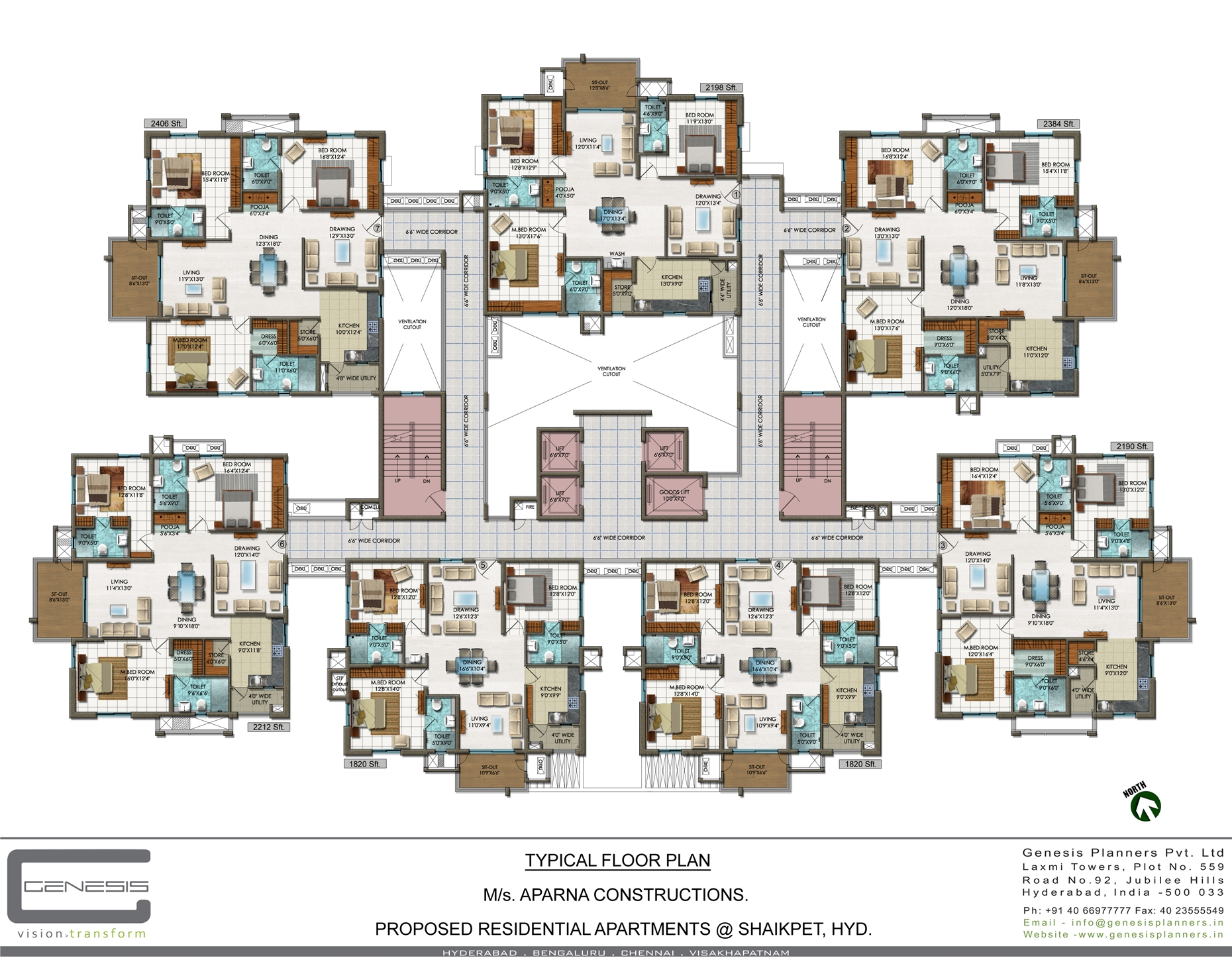 Aparna constructions aparna aura jubilee hills hyderabad for Apartment site plan