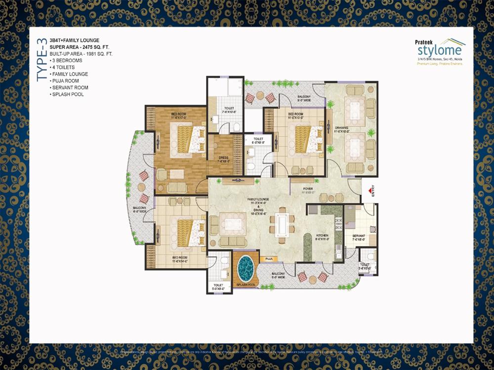 Prateek buildtech india pvt ltd prateek stylome sector for Apartment design map