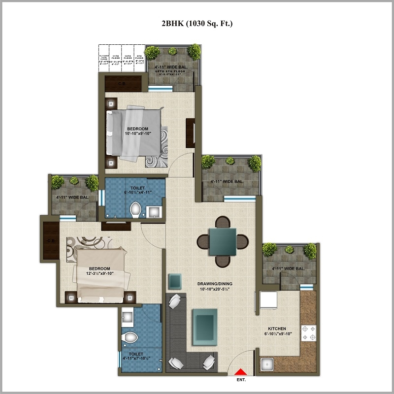 2 bhk multistorey apartment flat for sale in cosmos for Guntha to sq ft
