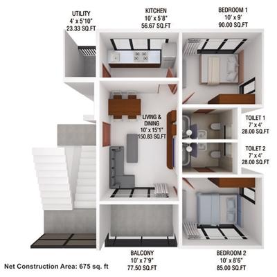 2 BHK, Multistorey Apartment / Flat For Sale in Maraimalai Nagar, Chennai
