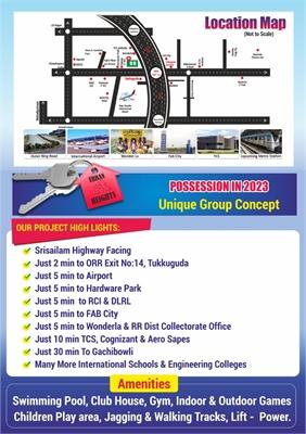 2 BHK, Multistorey Apartment / Flat For Sale in Tukkuguda, Hyderabad